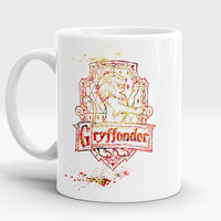 Gryffindor mug, Qualities Students of this house, Harry Potter gift, Houses crest, Watercolor Art Cup