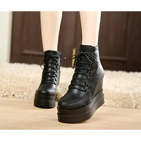 Lace Up Ankle Boots Platform Shoes Wedges Woman 3322