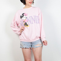 Vintage 80s Sweatshirt Pale Pink Minnie Mouse Sweater 1980s Sweatshirt Light Pastel Girly Tshirt Jumper New Wave Cartoon Print Top M L Large