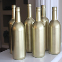Gold Painted Wine Bottles, Gold Bottles, Gold Wedding, Gold Wedding Centerpiece, Gold Centerpiece, Gold Decor, Gold Wedding Decor, Wine