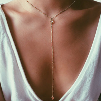 Gold Filled Necklace, Y Layering Necklace, CZ charm Women Necklace XL457