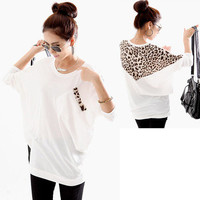 Corean Fashion and Mix-Matched Style Leopard Print Embellished Loose Bat-Wing Sleeves T-shirt For Women from Hester