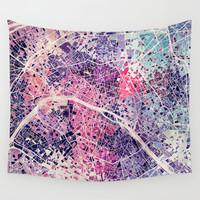 Paris Mosaic map #1 Wall Tapestry by Map Map Maps