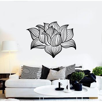 Vinyl Wall Decal Floral Shop Nature Lotus Flower Beautiful Decor Stickers Mural (g1302)