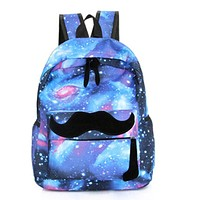 2016 Girls Boys Canvas Backpack Moustache Galaxy School Backpacks Pattern Rucksack Travel Bags School Bookbag Free Shipping N829