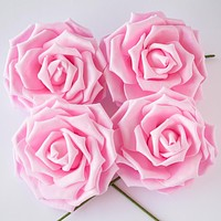 8-Inch Pink Garden Rose Foam Flower Backdrop Wall Decor, 3D Premade (4-PACK)  for Weddings, Photo Shoots, Birthday Parties and more
