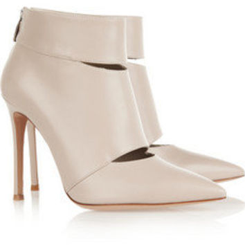 Gianvito Rossi|Cutout leather ankle boots|NET-A-PORTER.COM