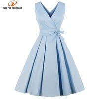 Light Blue Red Pleated Plain Vintage Dress Women Sexy V Neck Party Dress Elegant Retro Summer Cotton Dresses