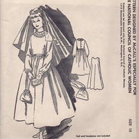 McCall Vintage 1950s Sewing Pattern First Communion Dress Slip Alms Purse Catholic Flower Girl Uncut Size 10 Bust 28