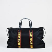 "Fendi Black Red & Yellow Nylon & Leather ""Fendi Vocabulary"" Duffle Bag"