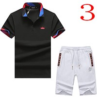 Dolce&Gabbana Casual Men Short Sleeve  Shirt Top Tee Shorts Set Two-Piece
