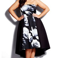 Plus Size Women's City Chic 'Blown Rose' Print Block Strapless High/Low Dress,