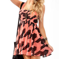 Ruched Houndstooth Skater Dress