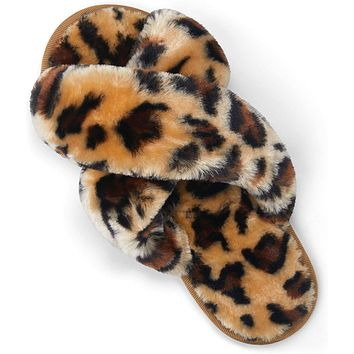Women's Cross Band Slippers Soft Plush Furry Open Toe Fur Slides Fuzzy Fluffy Slip on House Shoes Indoor Outdoor