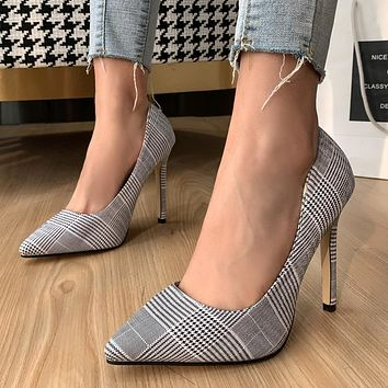 New style women's shoes stiletto high-heeled plaid cloth pointed-toe shallow shoes