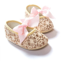Lovely Baby Girls Princess Bowknot Shoes Toddler Soft Soled Anti-slip Crib Shoes 0-12M NW