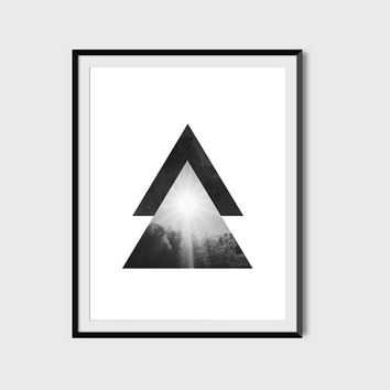 Geometric Poster, Minimalist Art, Geometric Art, Minimalist Poster, Photo Print, Wall Art, Black, White, Trees