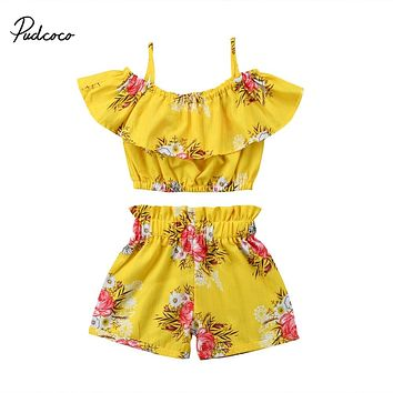 Pudcoco Toddler Girl Summer Clothes Off Shoulder Ruffle Tops Elastic Shorts Bottoms Boutique Kids Clothing Outfits Set 2pcs