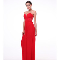 Preorder -  Red Strapless Sweetheart Lace Back Gown 2015 Prom Dresses