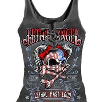 """WOMEN'S """"USA GIRL"""" LACE UP TANK BY LETHAL ANGEL (GREY)"""
