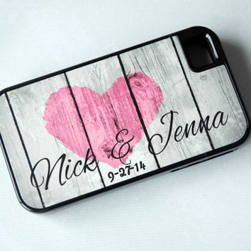 Custom iPhone Case + Couples Names + Wedding Date Optional + Rustic Country Heart