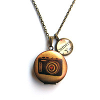Retro Camera Valentine's Locket with Heart and Camera Word Mini Pendant Library Necklace