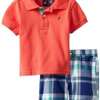 Nautica Baby Boys' 2 Piece Solid Polo Short Set, Light Red, 24 Months