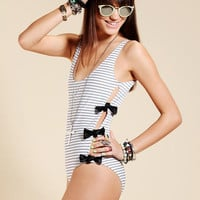 Urban Outfitters - Lolli Faux-Leather Bow One-Piece Swimsuit