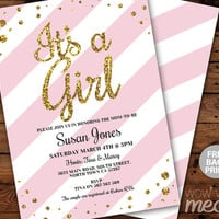 It's a Girl Baby Shower Invitation INSTANT DOWNLOAD Gold Glitter Pink French Stripe Personalize Digital Party Invites Editable & Printable