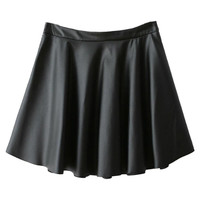 Black PU Skater Skirt
