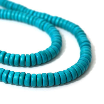 Turquoise Wood Beads, 8mm x 4mm rondelles, eco-friendly wooden beads (879R)
