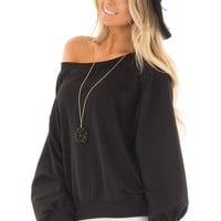 Black Off the Shoulder Long Sleeve Sweatshirt Top