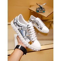 VERSACE AMAZING COOL logo Men's 2020 New Embroidery Low Top Boots Casual Sneaker Running sport Shoes   flat BEST quality