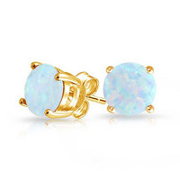 White Opal & Gold Plated Stud Earrings