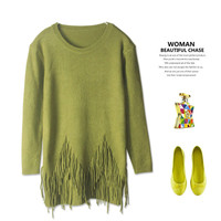Vintage Simple Design Tassels Round-neck Slim Rabbit Knit Tops Sweater [4918276868]