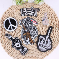 COOL Finger Design Letter Punk Skull Patch Biker Rock Iron On Cheap Embroidered Patches For Clothes Stickers Jean Hippie Patches