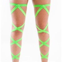 Pair of RaveReady Green Leg Wraps : Rave Fluffies Wraps