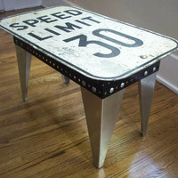 Speed Limit Sign. Coffee Table. Modern Industrial. Vintage sign. Handmade skirt/legs.