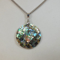 Cyber Monday Special  today only, Abalone Mosaic on Mother of pearl pendant on stainless steel chain