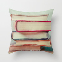 Pillow Cover Original Decorative Throw Pillow Case Bedroom Decor Geeky Books Love Red Colorful Library Art Vintage