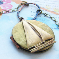 Brass Sailboat Locket Necklace