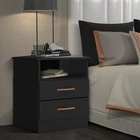 """19"""" Wooden End Side Table with 1 Open Compartment, Black By The Urban Port"""