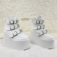 "Demonia Swing 105 White Matte Ankle Boot 5.5"" Platform NY RESTOCkED NY"