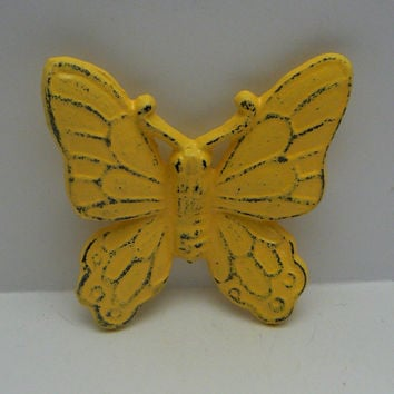 Butterfly Wall Art Cast Iron Sunny Lemon Yellow Distressed Home Decor Shabby Cottage Chic Rustic Nursery Wall Hanging
