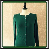 August Silk Cardigan Sweater Green Womens Petites Small PS