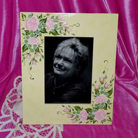 Hand Painted Picture Frame Wood Photo Holder Custom Decorative Roses 5x7