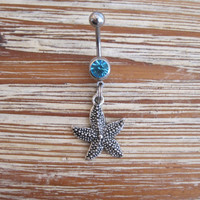 Belly Button Ring - Body Jewelry - Silver Starfish with Lt. Blue Gem Stone Belly Button Ring