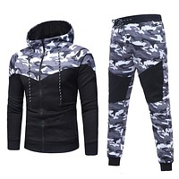 Tracksuit Men Camouflage Sportswear Hooded Sweatshirt Jacket+pant Sport Suit Male
