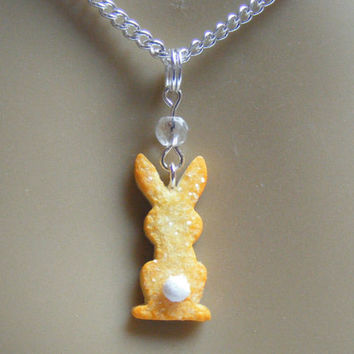 Food Jewelry, Bunny Sugar Cookie Pendant, Bunny Necklace, Rabbit Necklace, Miniature Food Necklace, Mini Food Jewellery, Polymer Clay Food