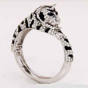 """9.50"""" crystal leopard arm candy stack bracelet bangle cuff hinged"""
